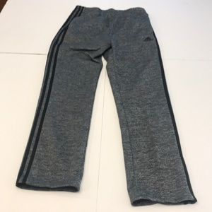Adidas gray sweatpants with black stripes
